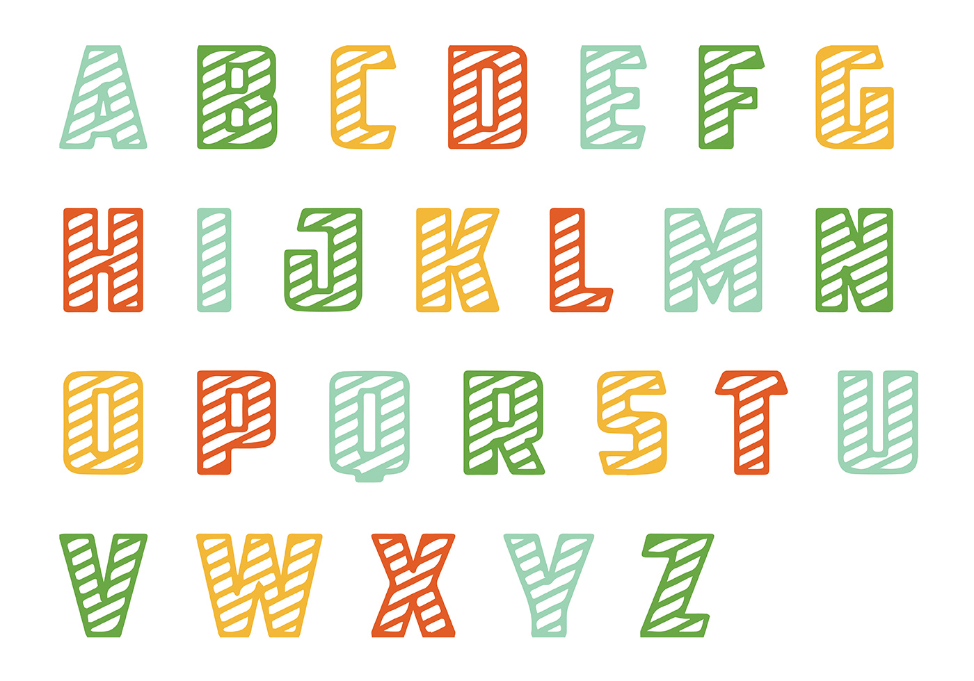 Striped Letras Vector Pack Download Free Vector Art