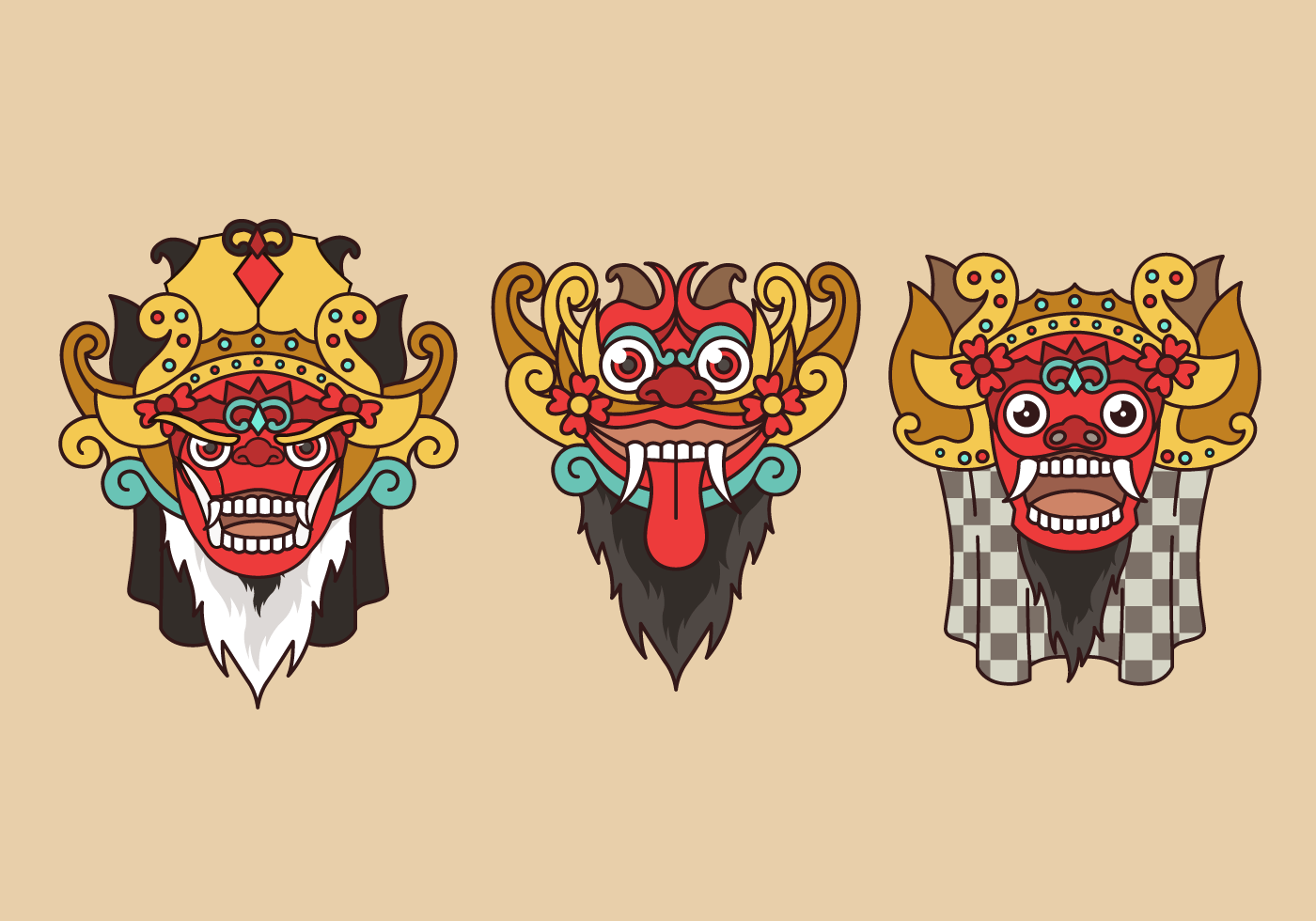Barong Bali Indonesian Culture Vector  Download Free