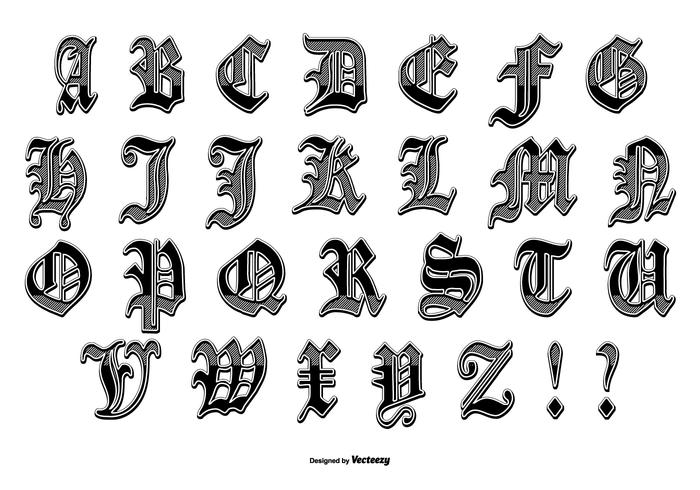 Download Gothic style old english letter set - Download Free ...