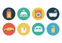 Free Flat Hotel Icon Set - Vectors Clipart