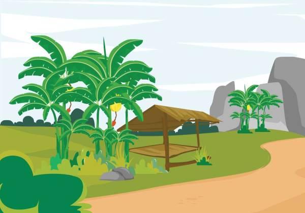 free banana tree landscape illustration