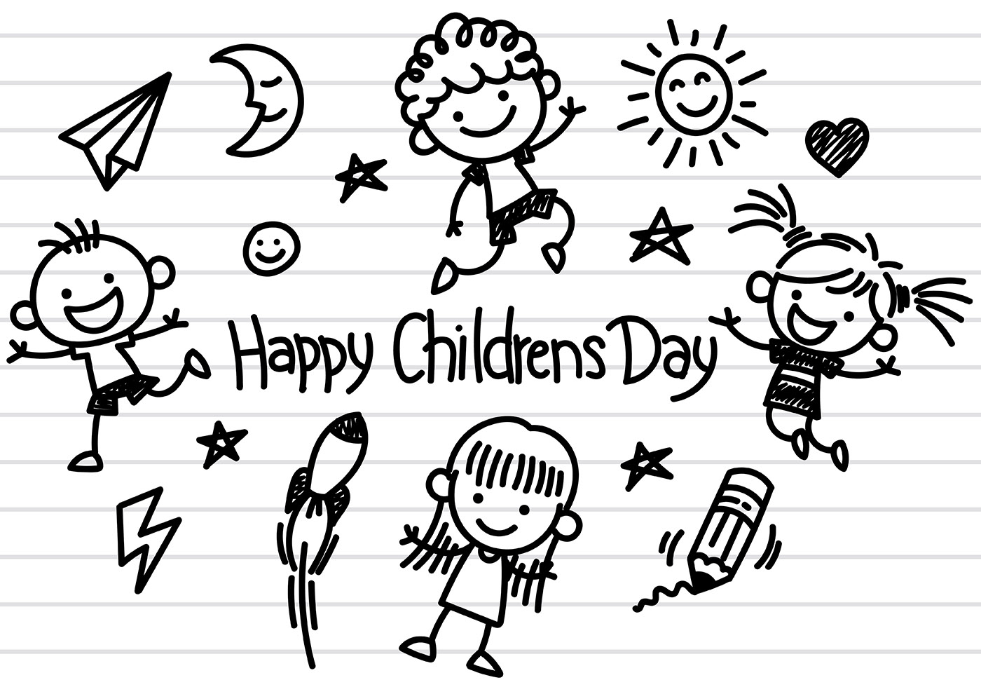 Childrens Day Icons Vector