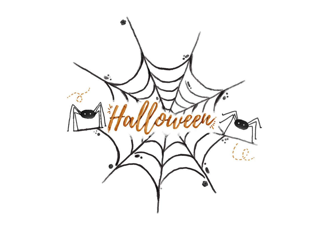Spider Web Halloween Watercolor Vector