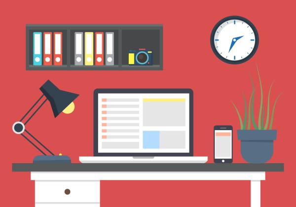 Office Desk Vector Art