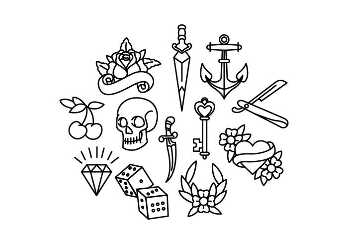 Black And White Old School Tattoo Flash