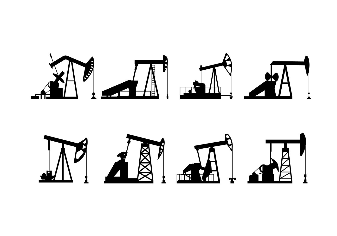 Oil Field Pump Silhouette Vector