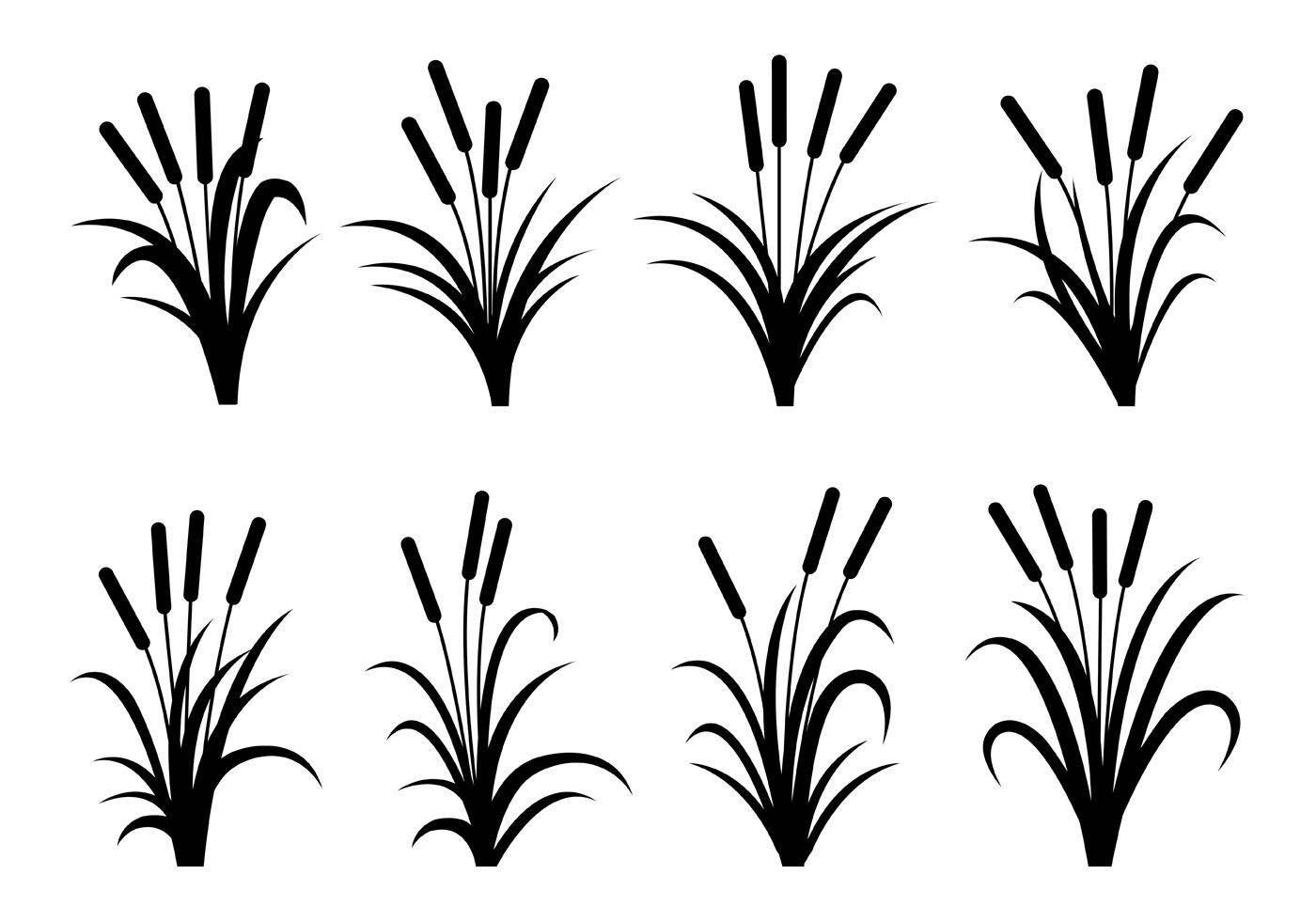 Cattails Silhouette Vectors
