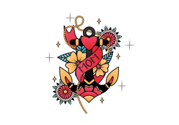 Mom Heart Tattoo Vector Art