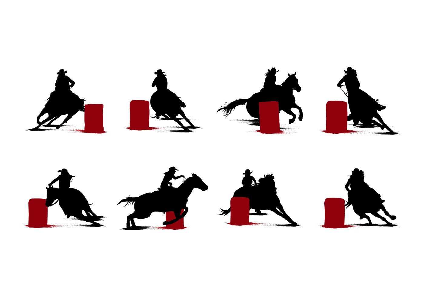 hight resolution of free barrel racing silhouettes vector