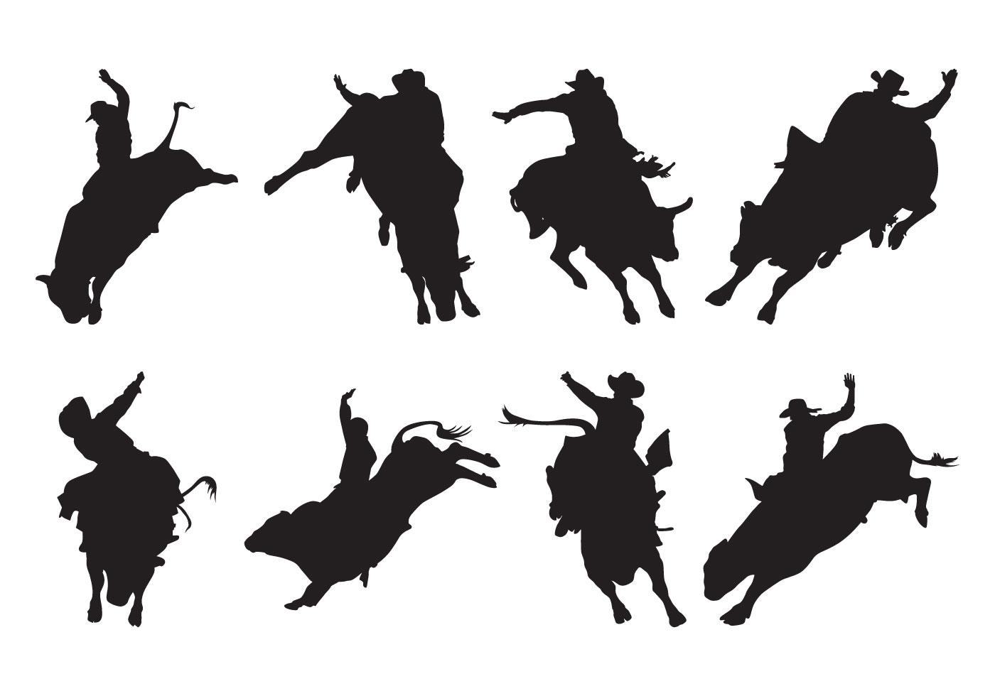 Free Bull Rider Silhouettes Vector