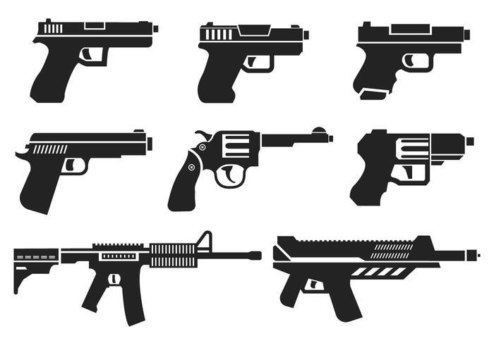 glock guns set illustrations vector