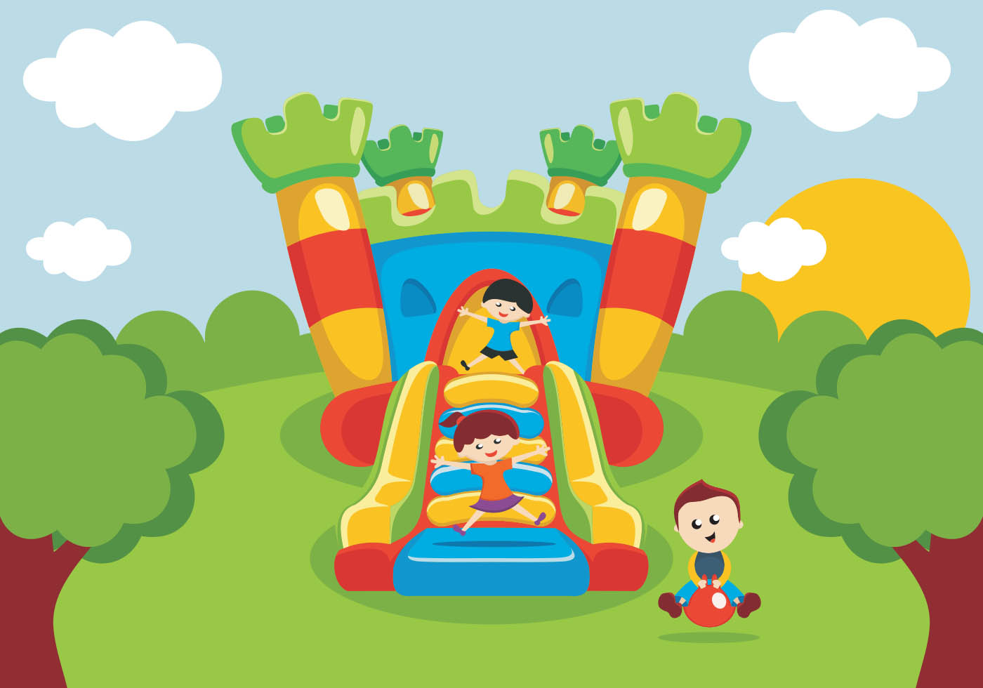 hight resolution of kids have fun on bounce house