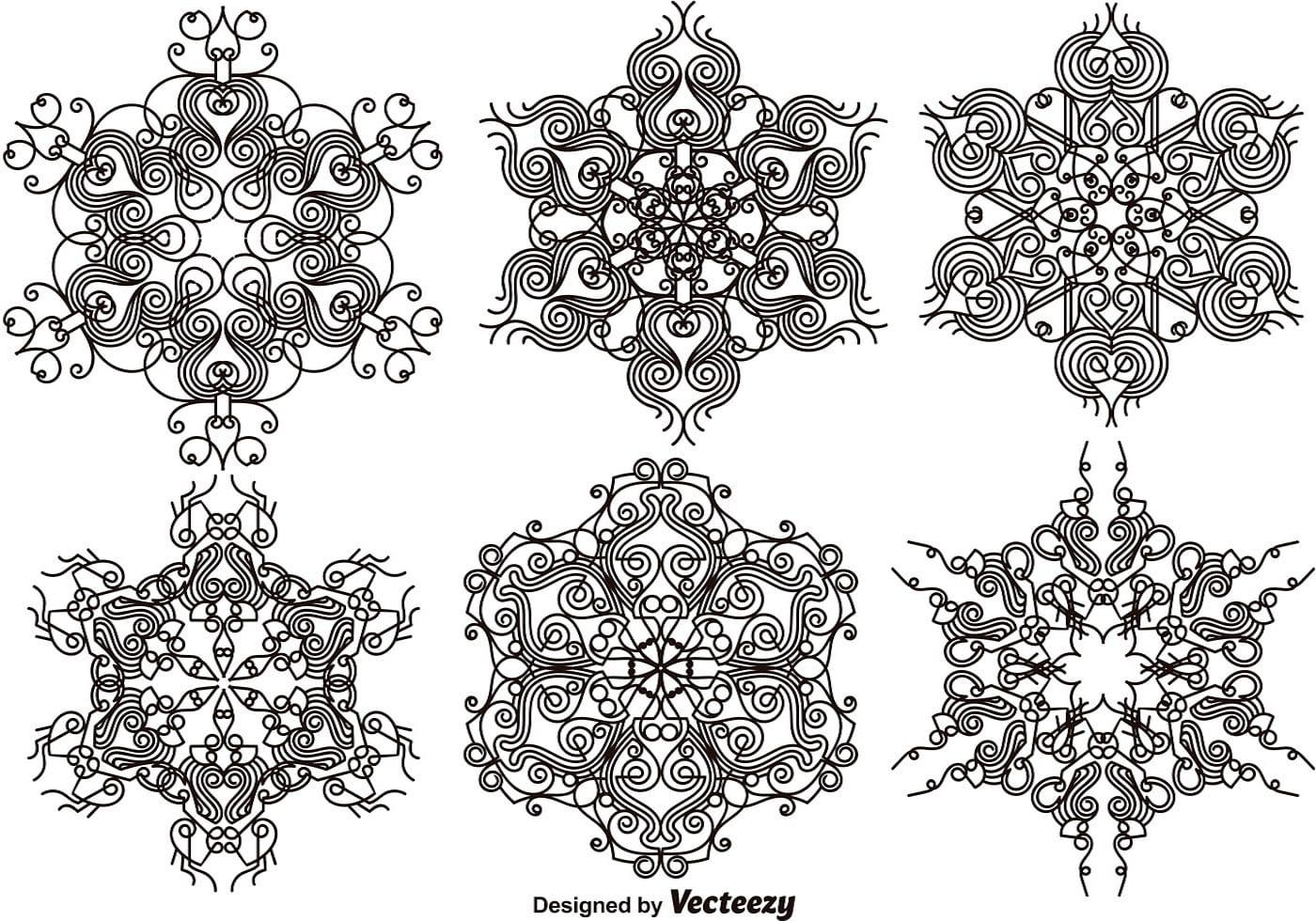 Elegant Ornamental Snowflakes