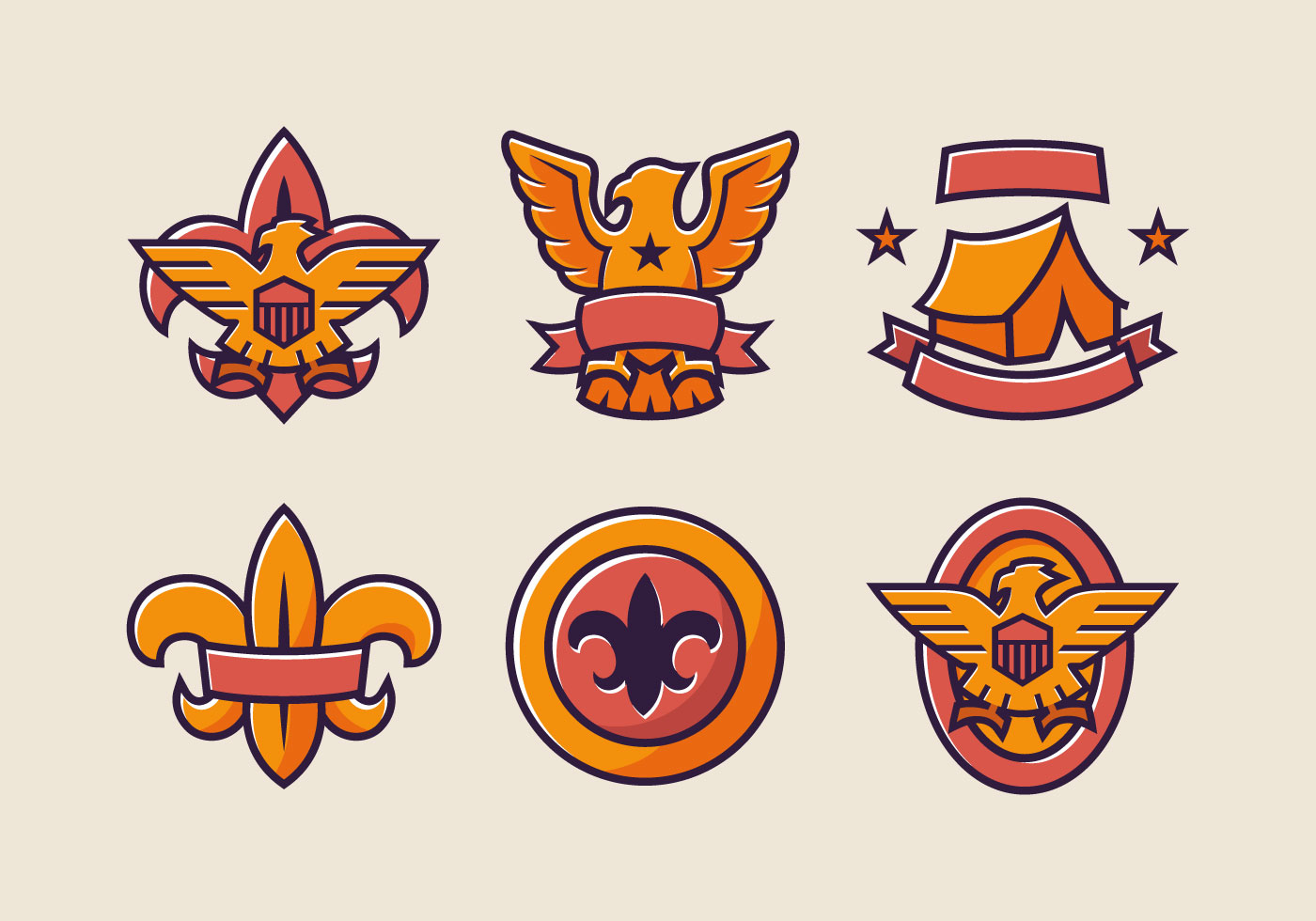 Eagle Scout Badge Color Vector Pack