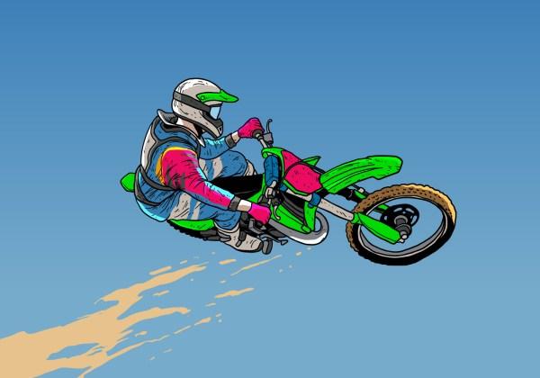 Vector Dirt Bike Jumping