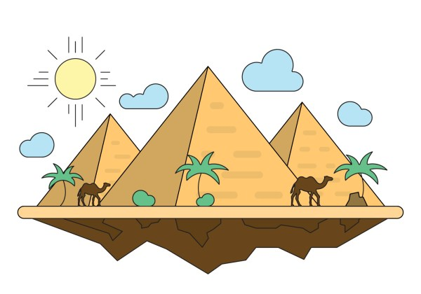 Illustration With Pyramids - Free Vector Art