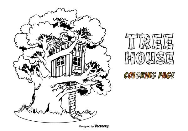 Free Tree House Vector Coloring Page - Art Stock Graphics &