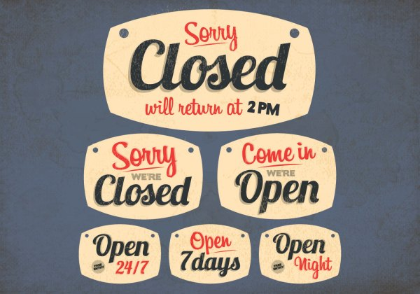 Open & Closed Signs Vector - Free Art Stock Graphics