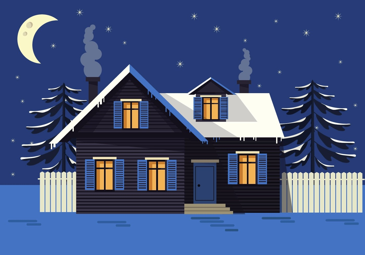 Free Night Landscape Vector House Download Free Vector