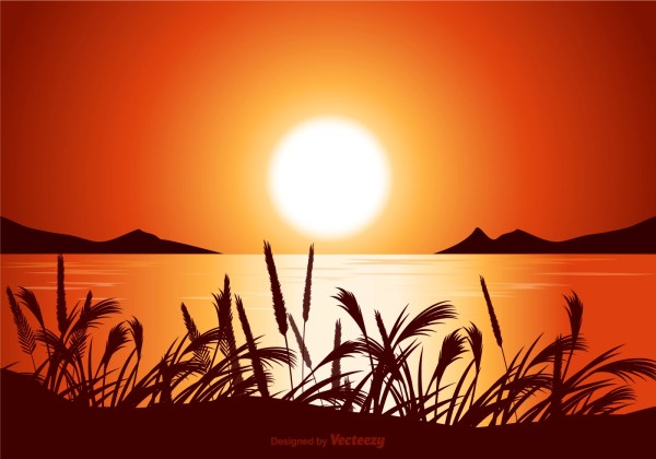 Vector Sunset Seascape Illustration - Free