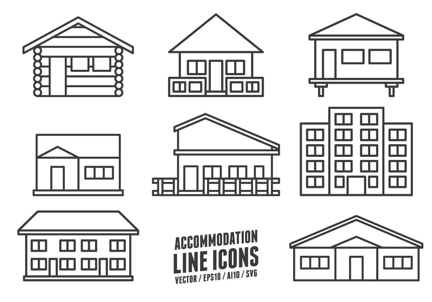 Accommodation Line Icons
