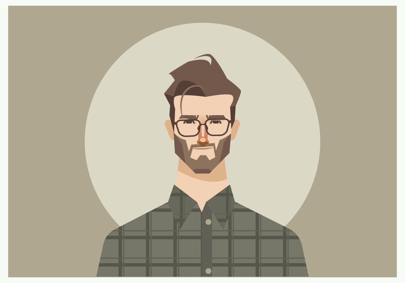 Young Man With Glasses And Flannel Shirt Vector Download