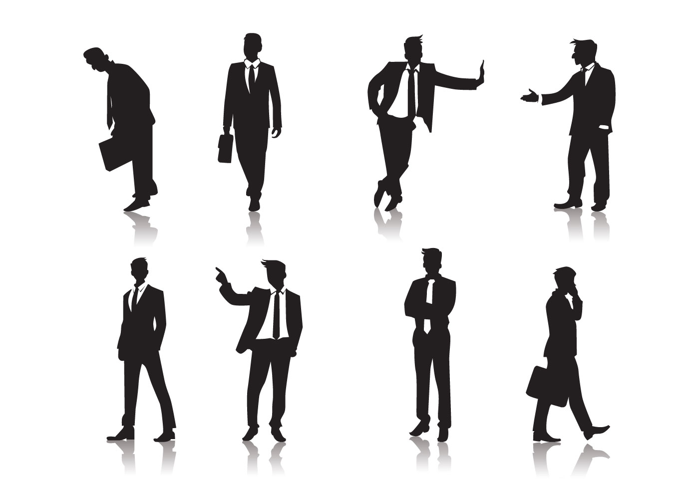 Standing Men People Silhouettes Vector