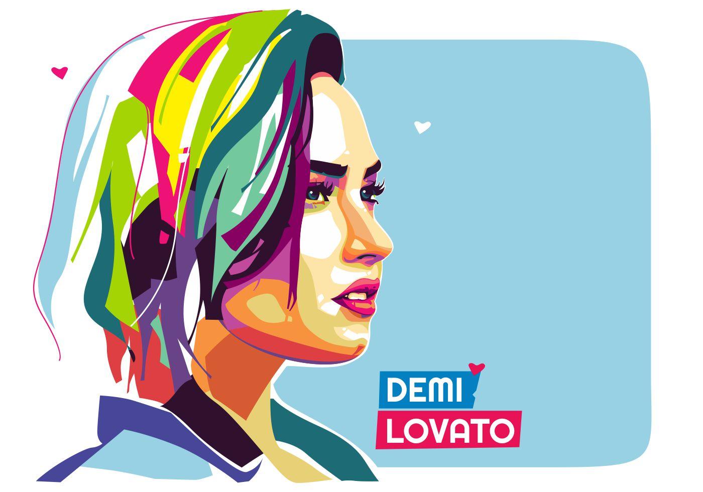 Cute Baby Hijab Wallpaper Demi Lovato Vector Popart Portrait Download Free Vector