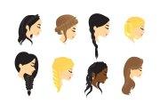 plait hair vector - free