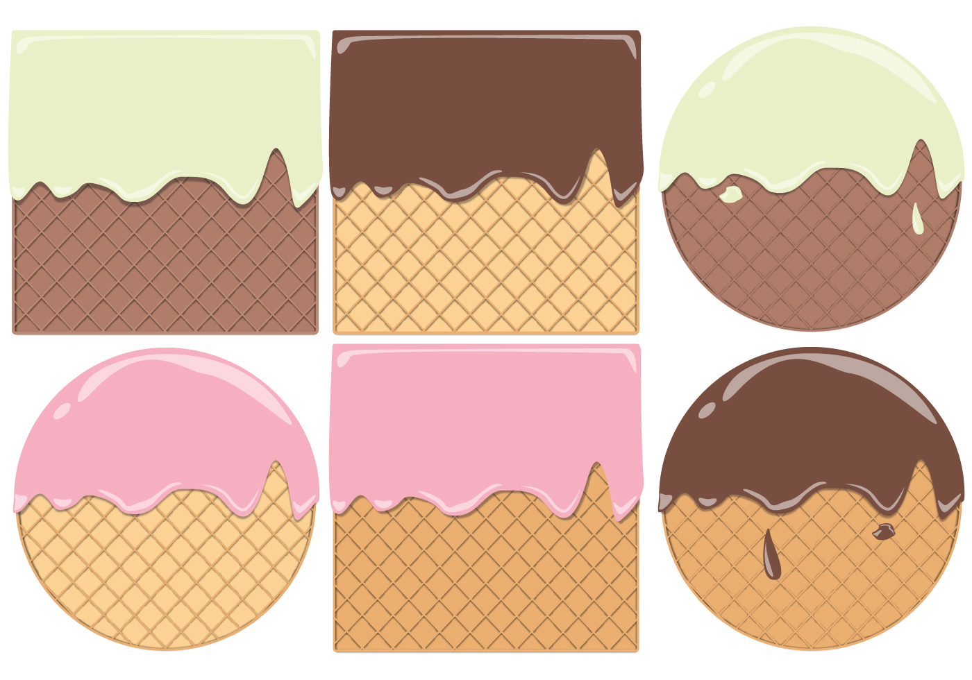 Round And Square Waffle Cone Pattern Vectors  Download