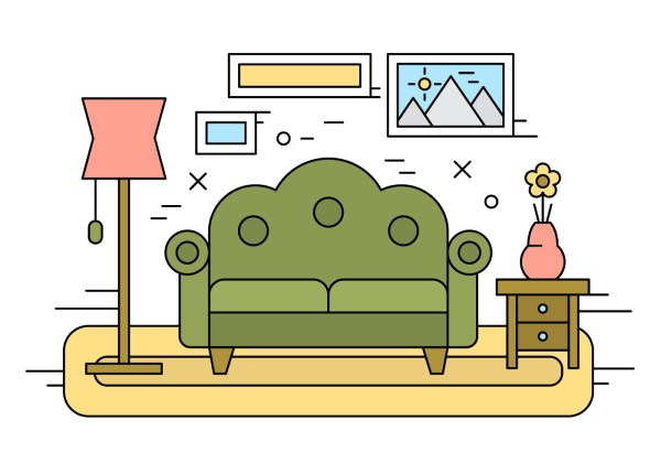 Living Room Illustration - Free Vector Art Stock
