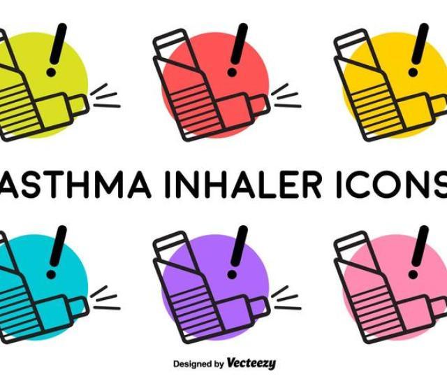 Vector Asthma Inhaler Signs
