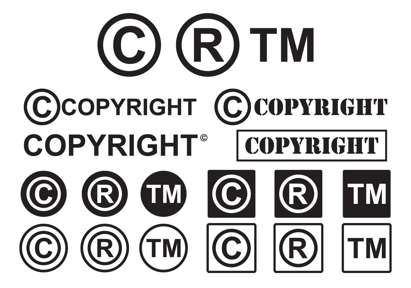 Conjunto De Minimal Simbolo De Copyright Vectors