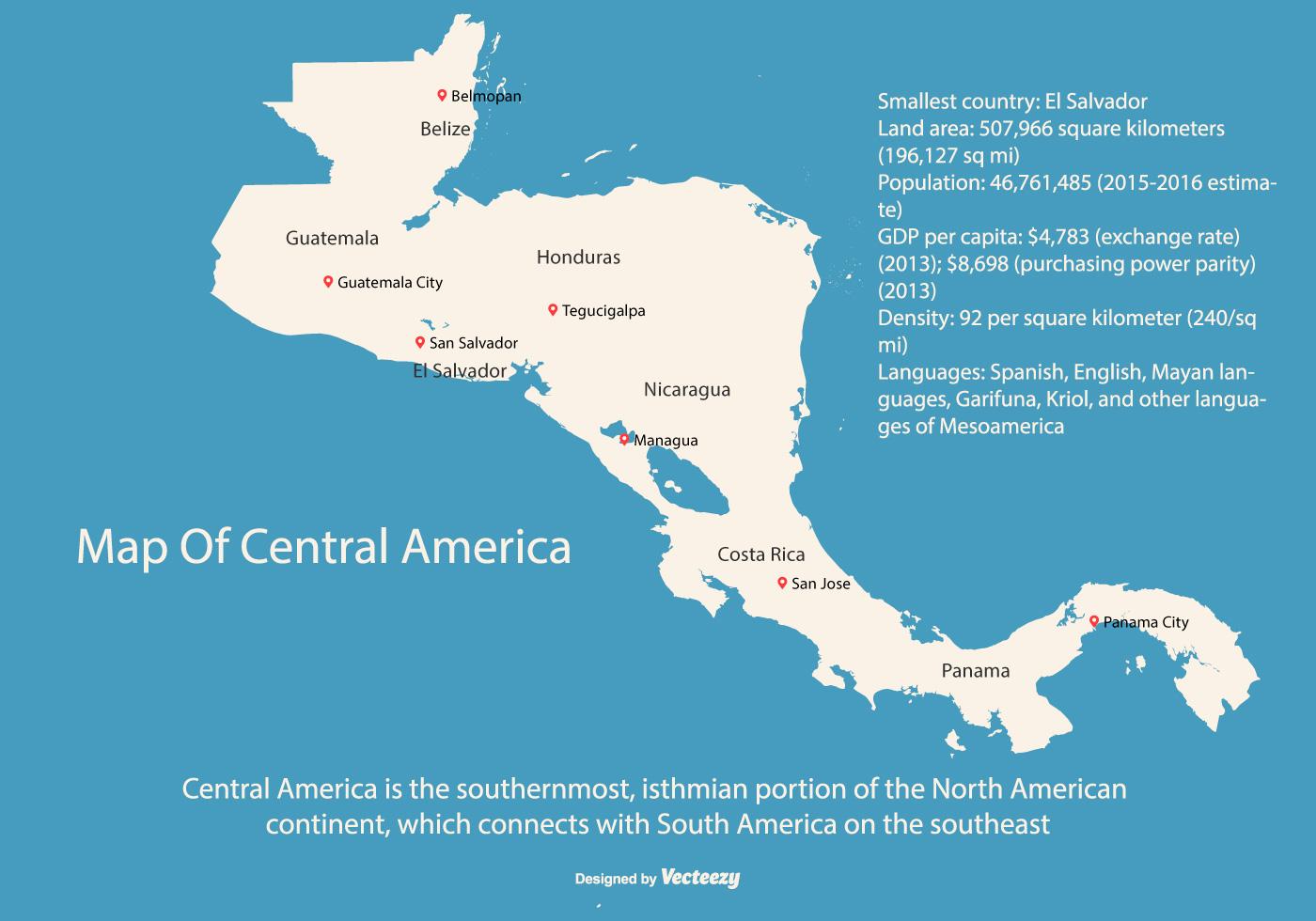 Central America Map Illustration