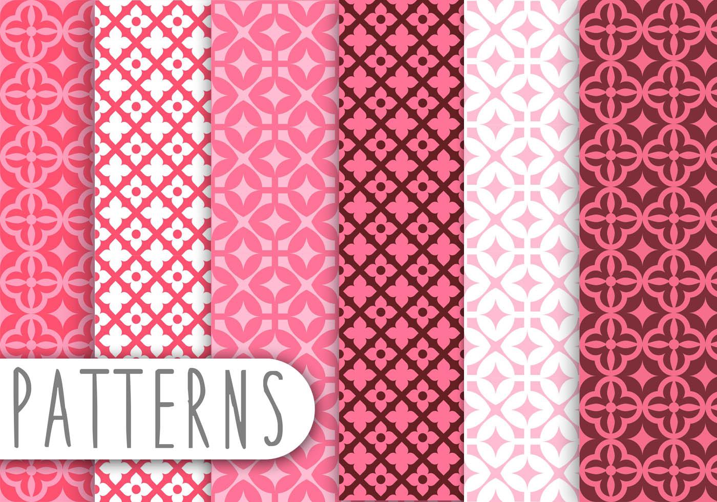 Cute Grey Wallpaper Pink Damask Decorative Pattern Set Download Free Vector
