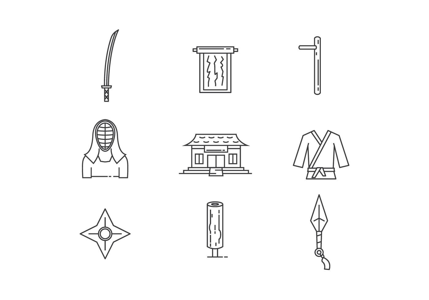 Outline Icons Of Martial Arts Object