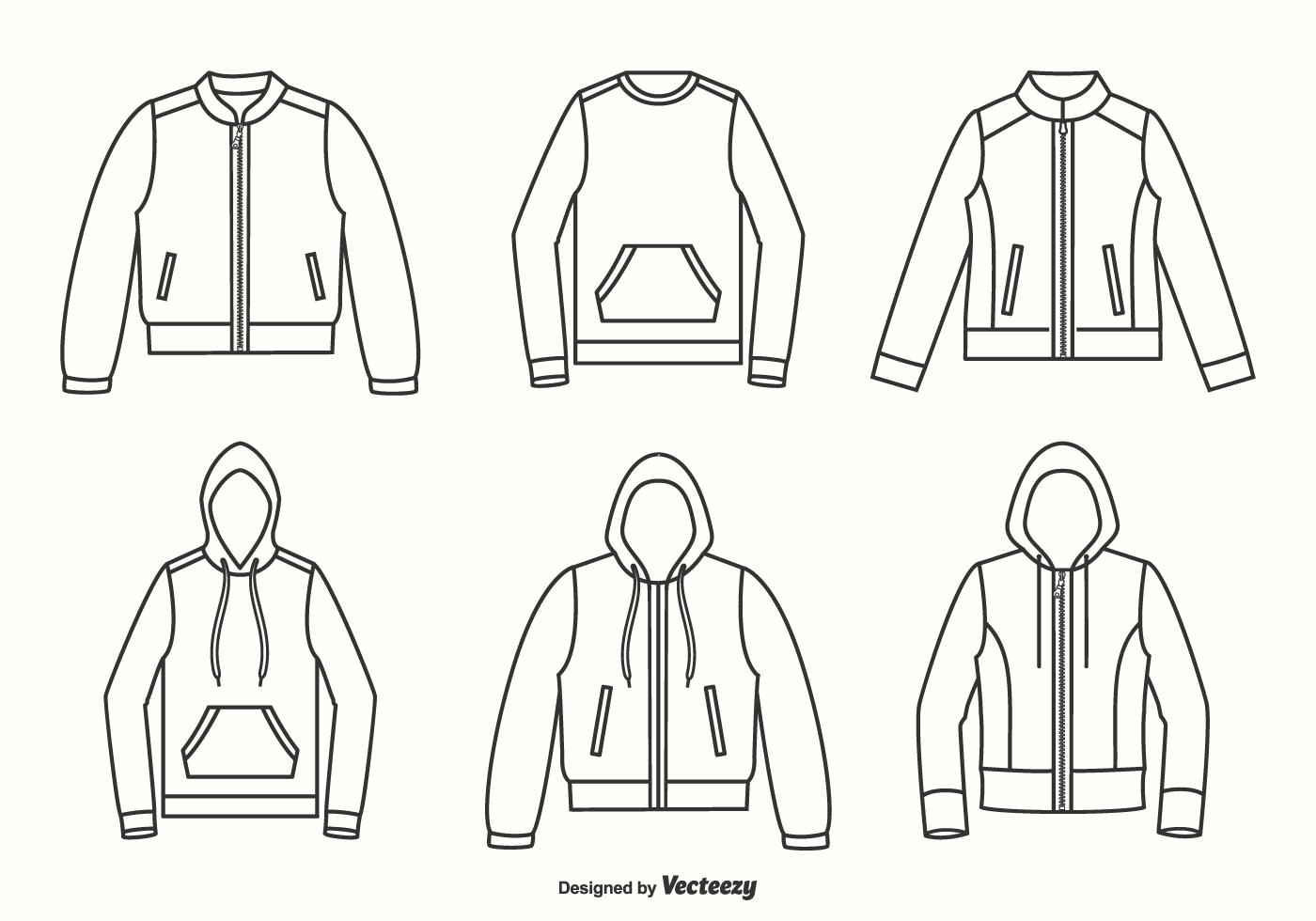 Jackets, Hoodies And Sweater Outline Vector Design