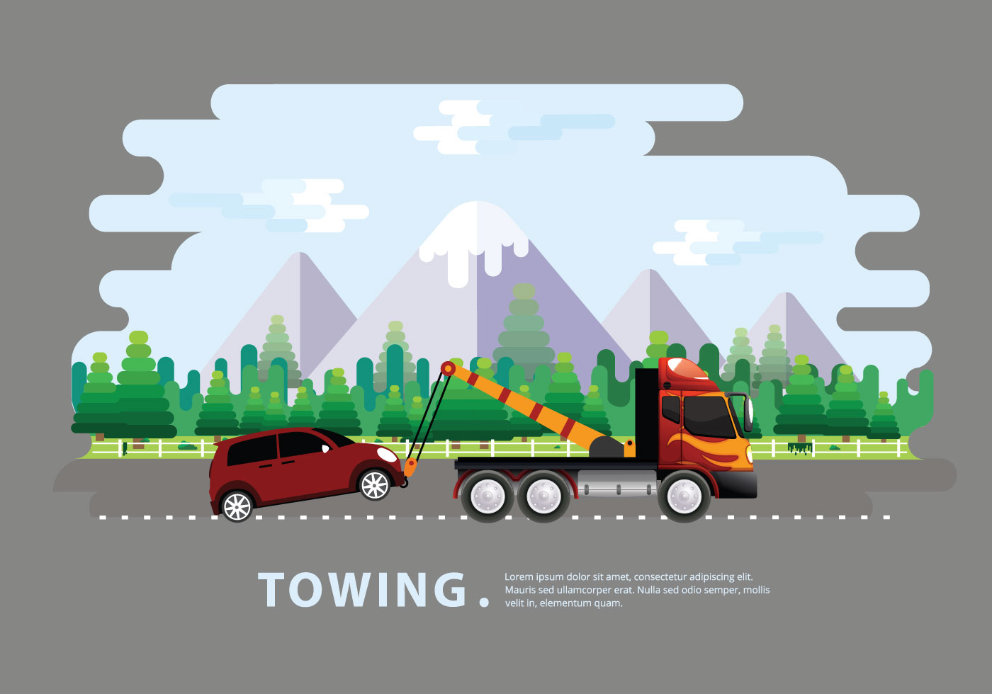 Towing Truck Service Vector Flat Illustration Download Free Vector Art Stock Graphics Amp Images