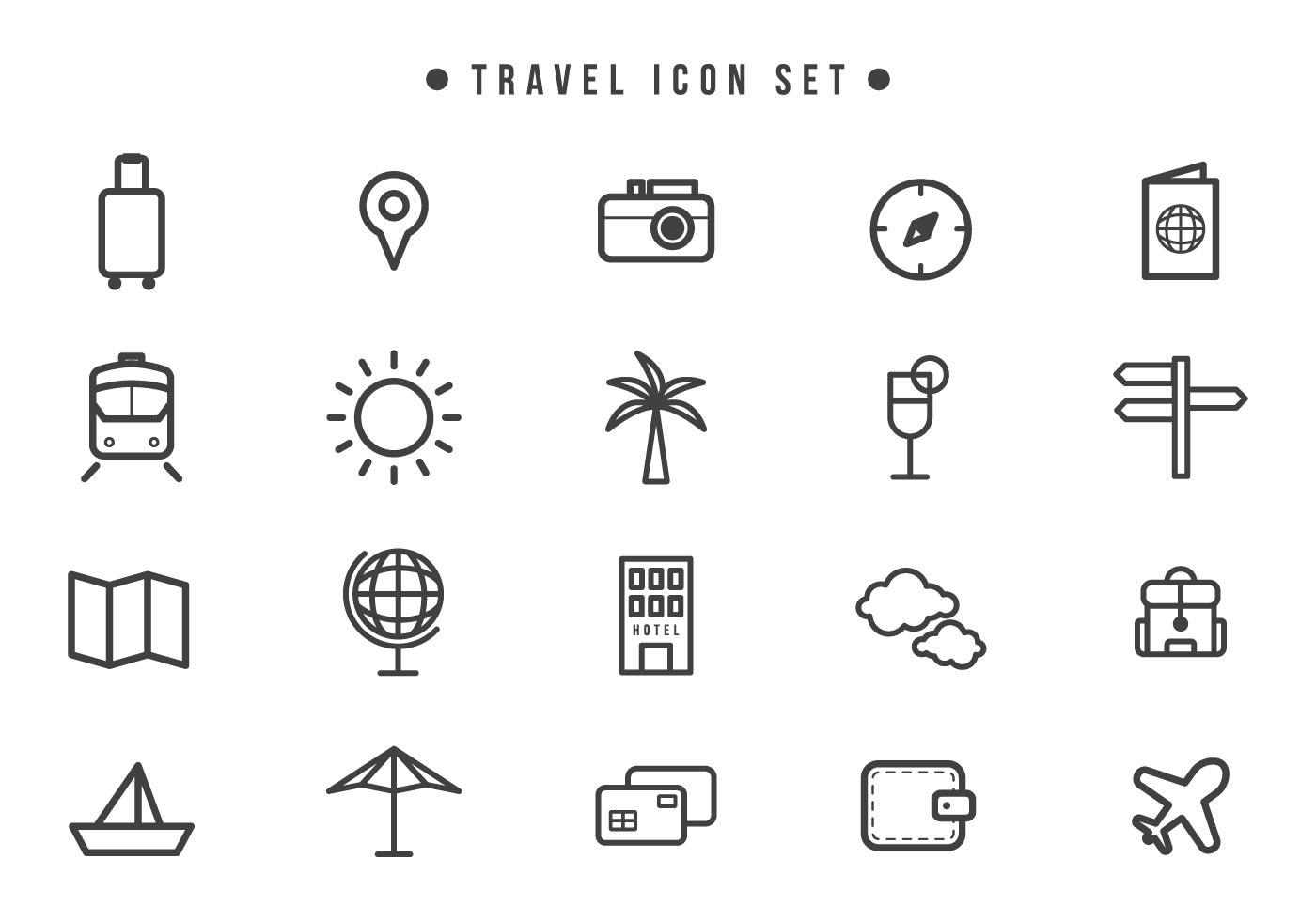 Travel Icons Free Vector Art