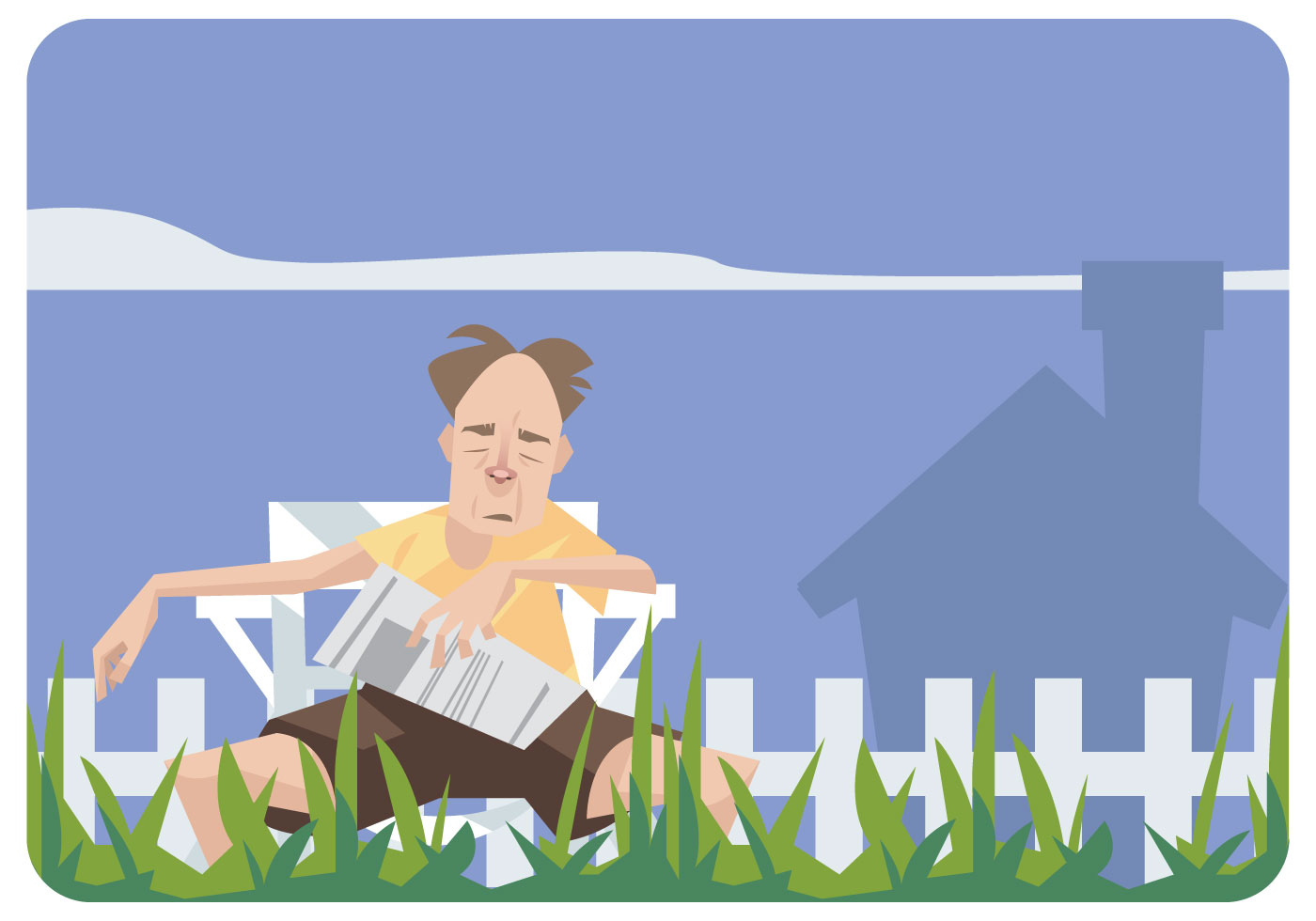 Old Man Sleeping in a Lawn Chair Vector  Download Free