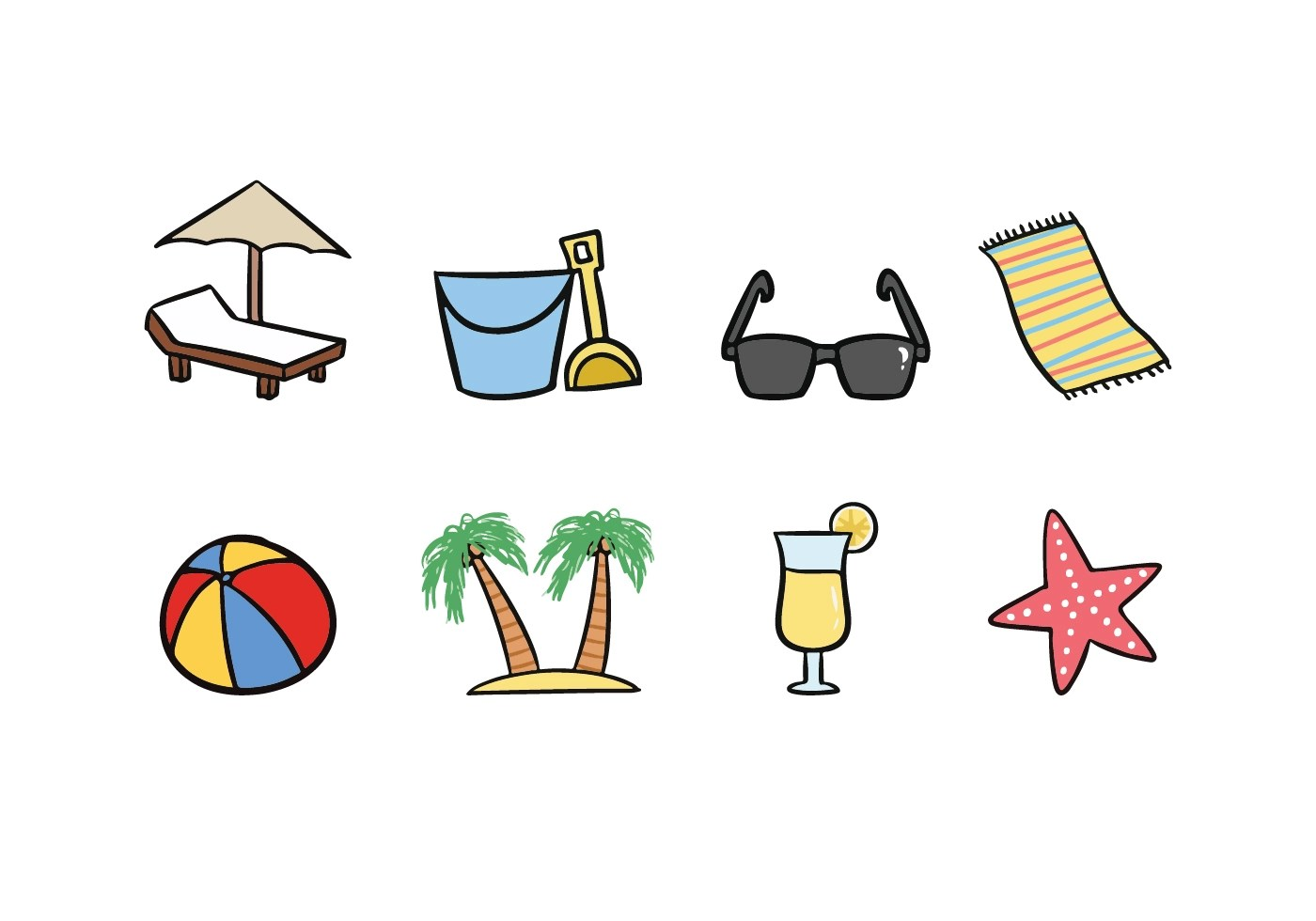 Beach Doodle Icons  Download Free Vectors Clipart