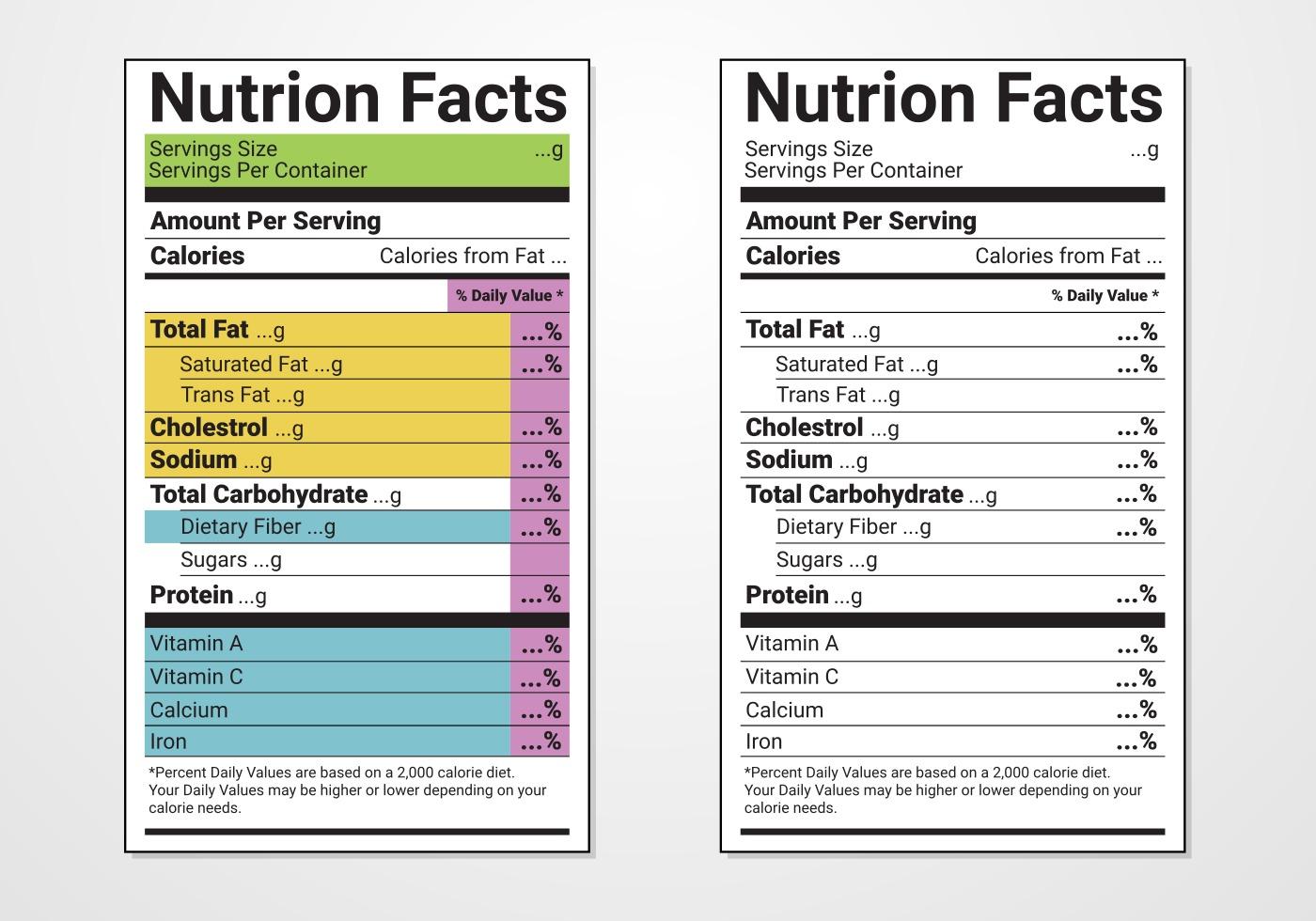 Vector De La Etiqueta De La Etiqueta De La Nutricion