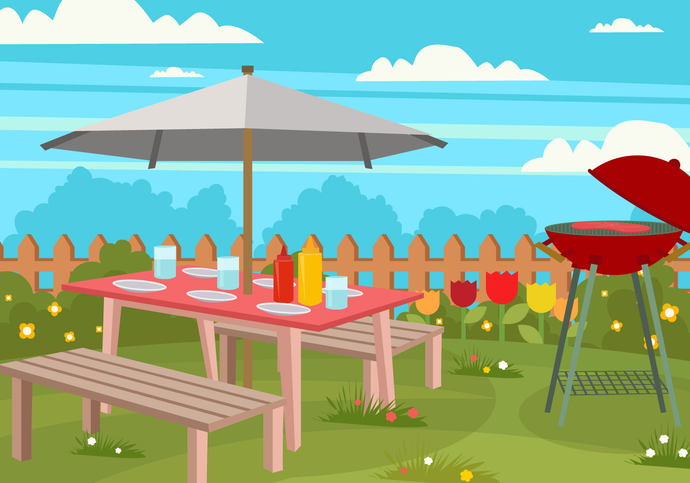 Picnic Lawn Chair In the Garden  Download Free Vector Art