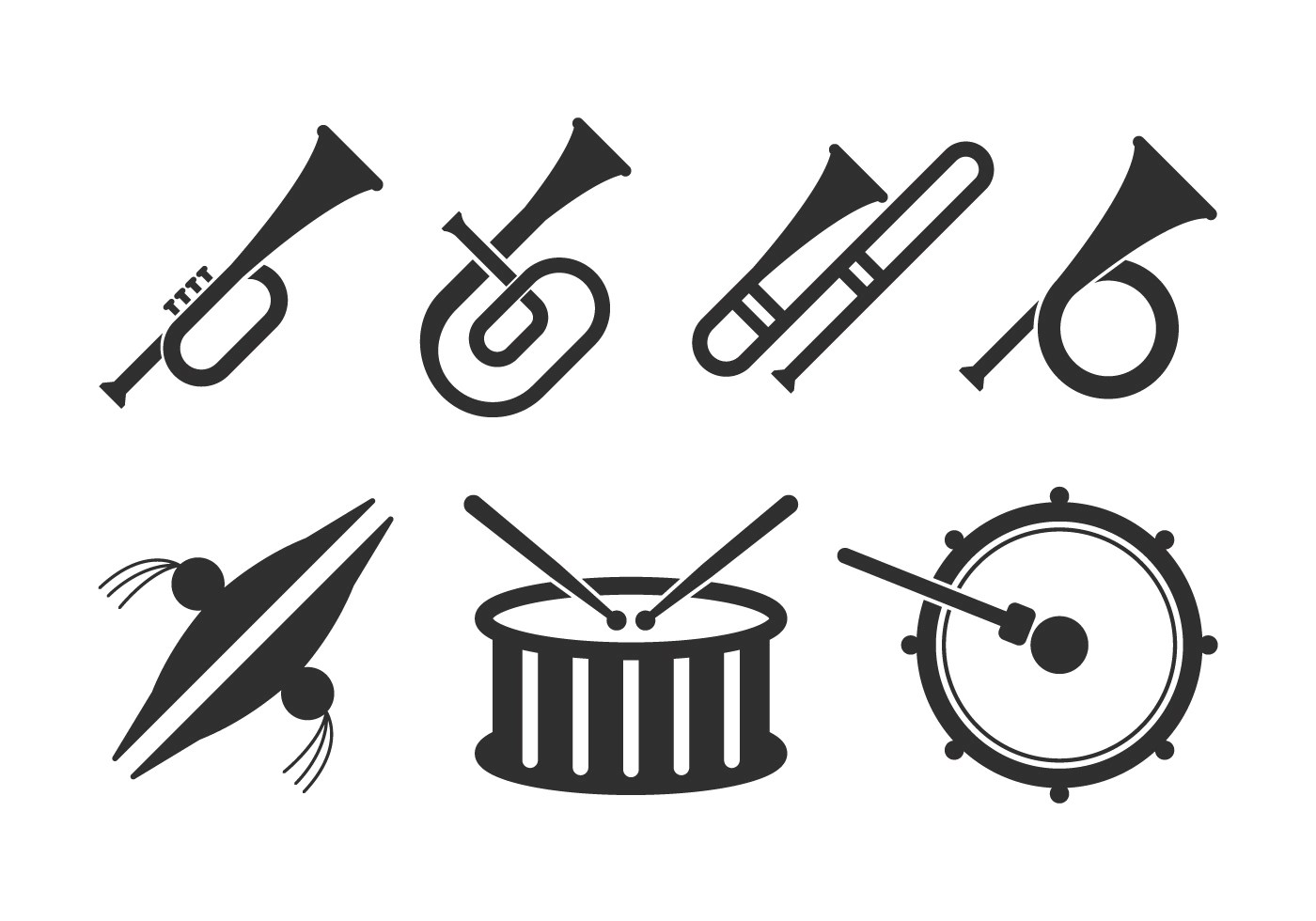 Marching Band Icons Set