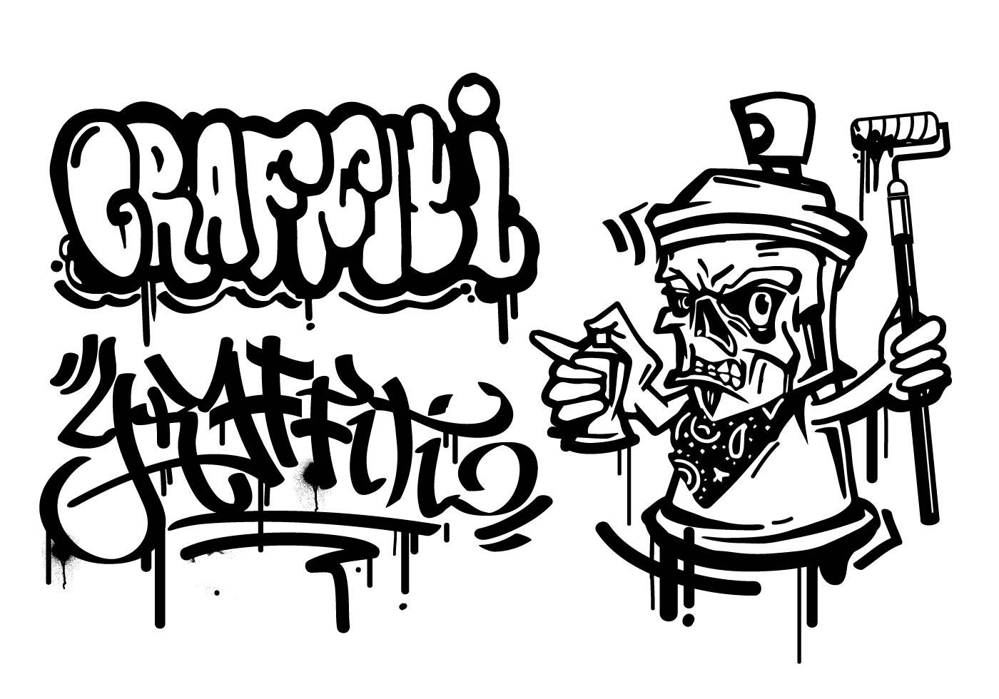 Graffiti Cartoon Character Vector