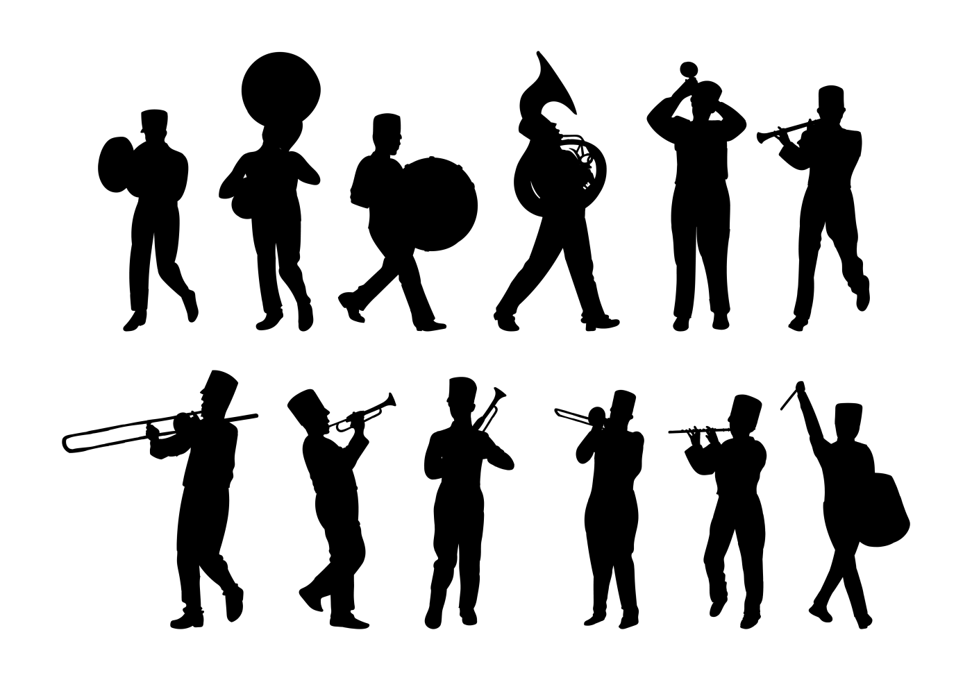 Marching Band Silhouettes Vector