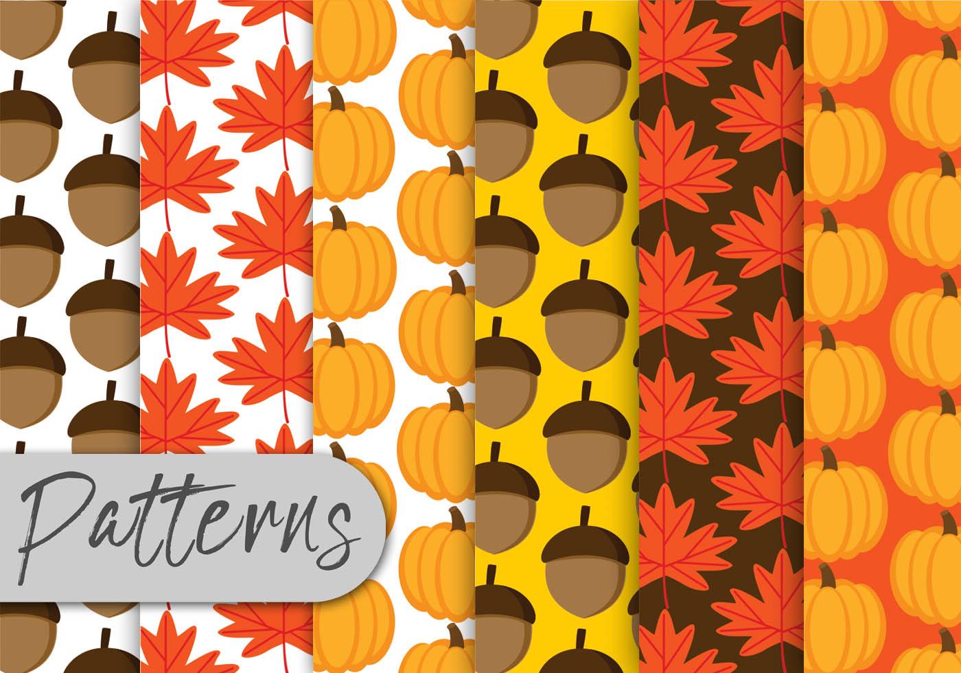Fall Leaf Pattern Wallpaper Autumn Pattern Set Download Free Vector Art Stock