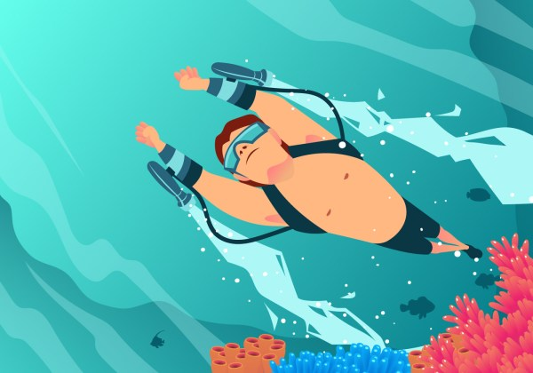 Swimming With Water Jet Vector - Free Art