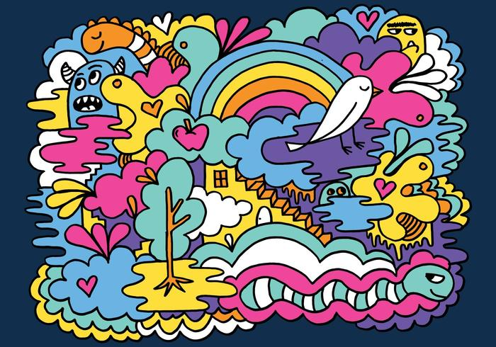 Wallpaper Hippie Girl Colorful Abstract Doodle Vector Background Download Free