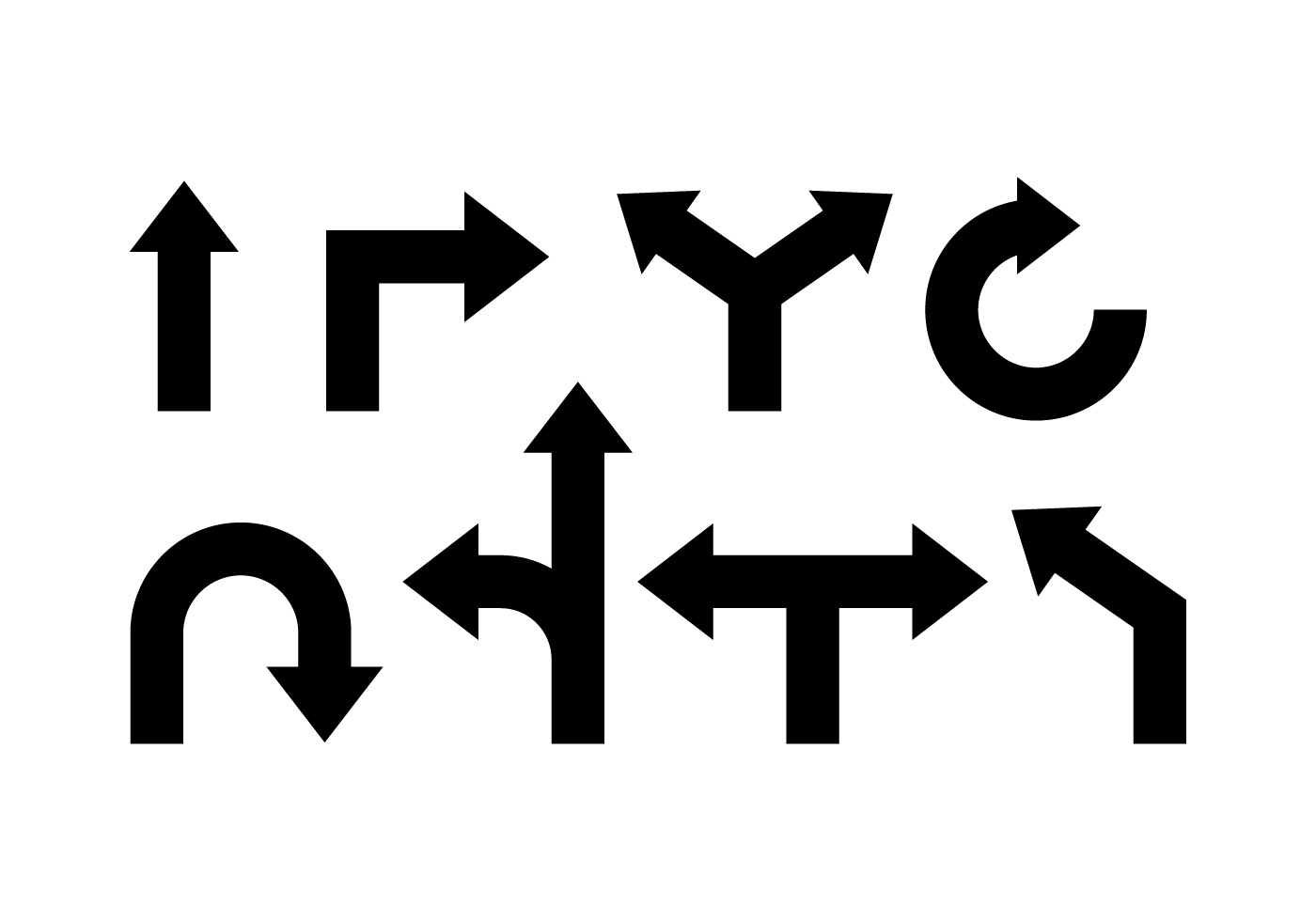 Road Sign Arrow Icons